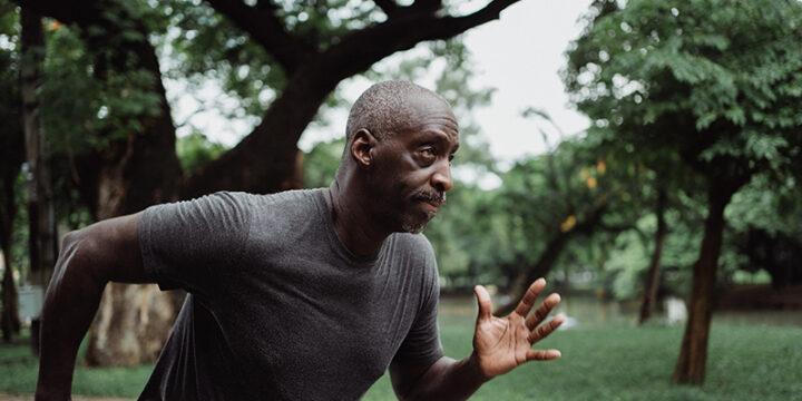guy running with weak metabolism due to soda